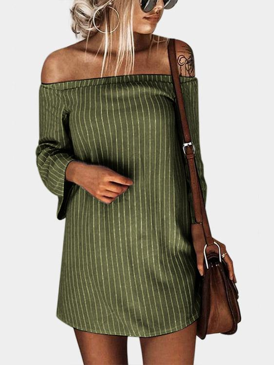 Army Green Off The Shoulder Long Sleeve Mini Dress