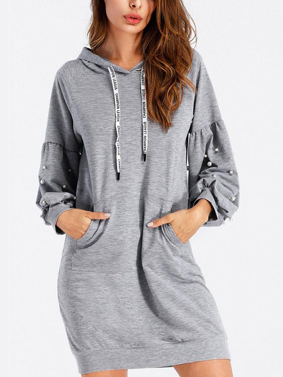 Grey Long Sleeve Handmade Beaded Hooded Lace-Up Sweatshirts