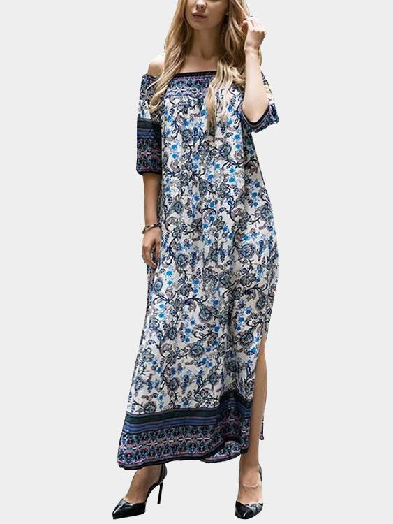 Navy Off The Shoulder 3/4 Sleeve Floral Print Maxi Dress