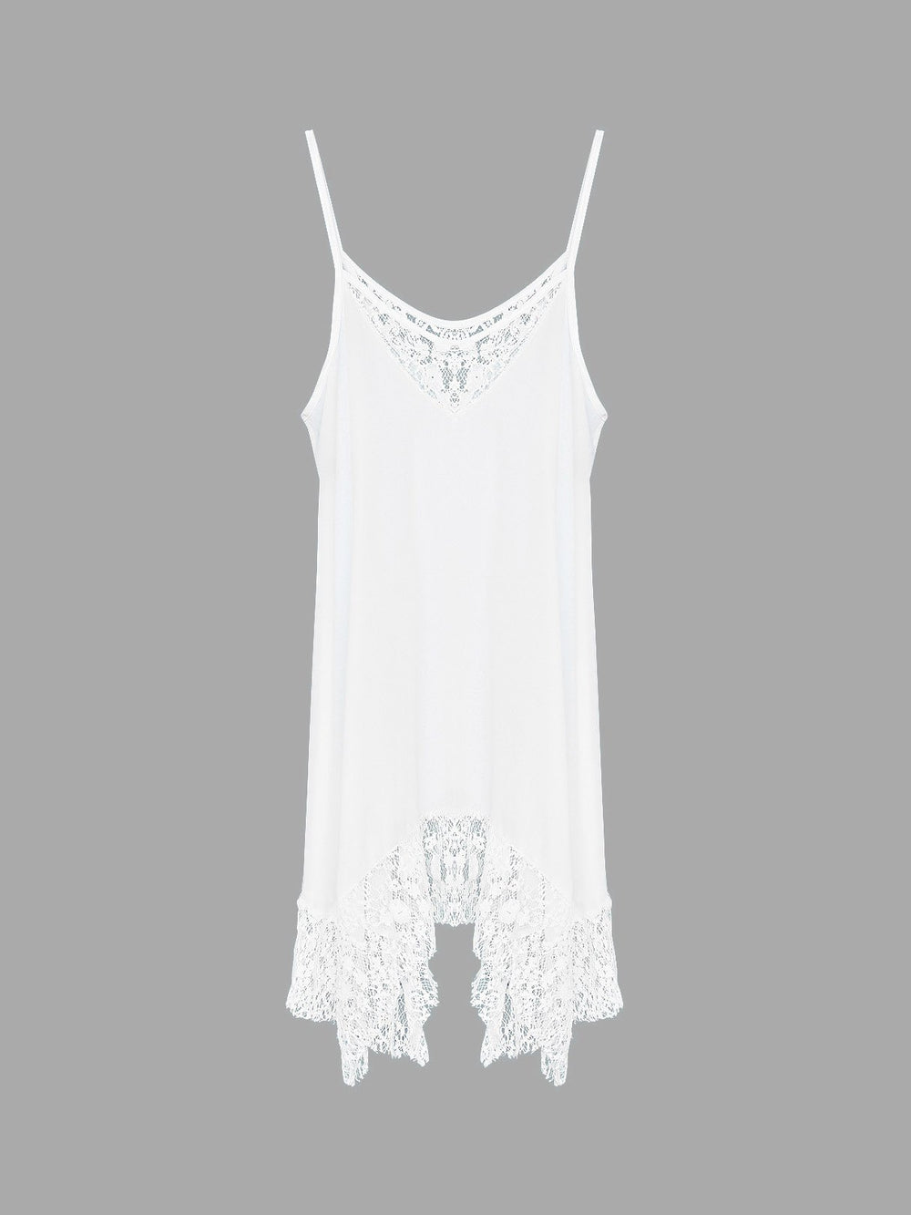 White Sleeveless Plain Lace Irregular Hem Chiffon Dresses