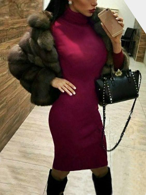 Ladies Burgundy Bodycon Dresses