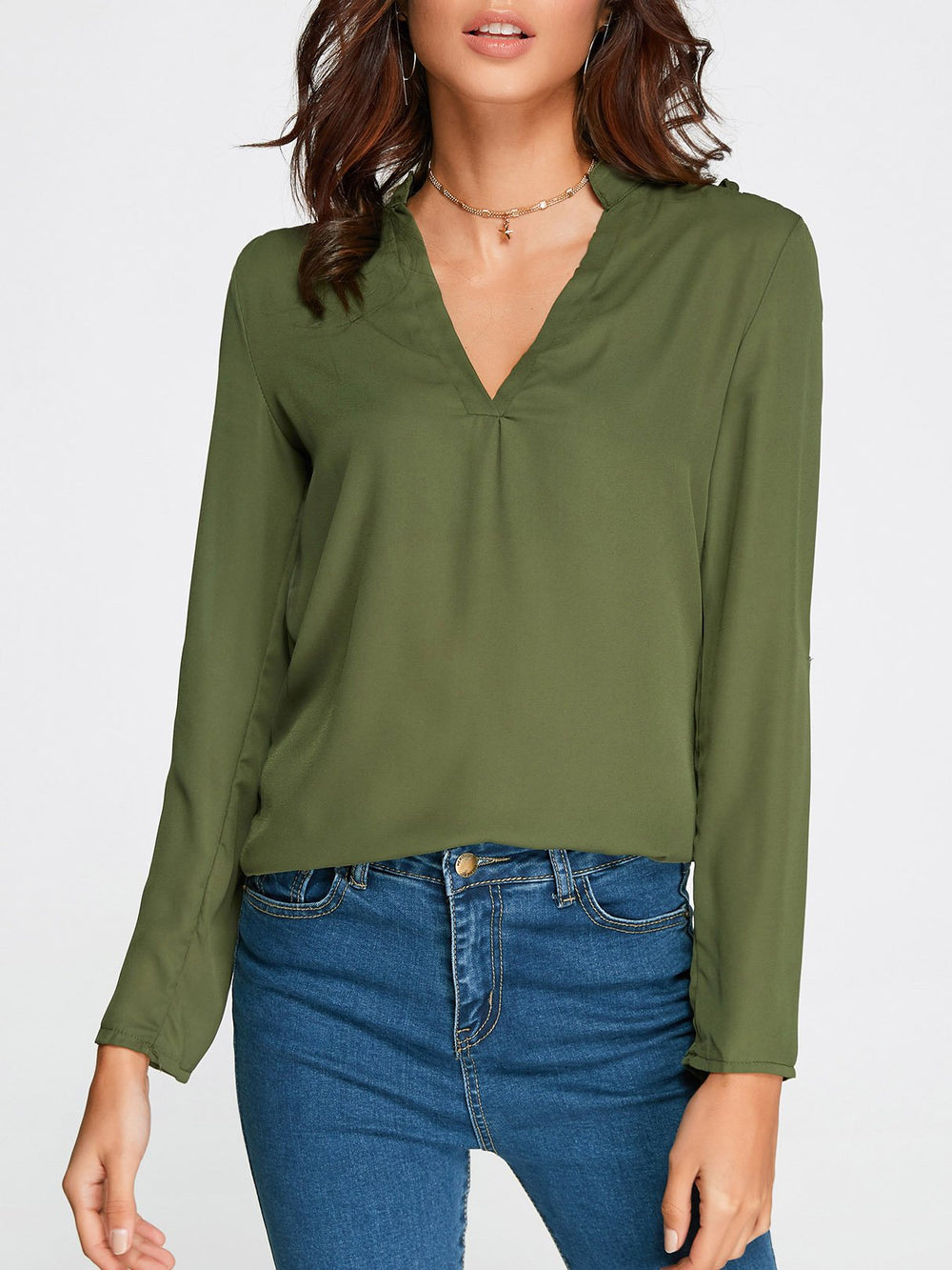 V-Neck Cut Out Long Sleeve Green Top