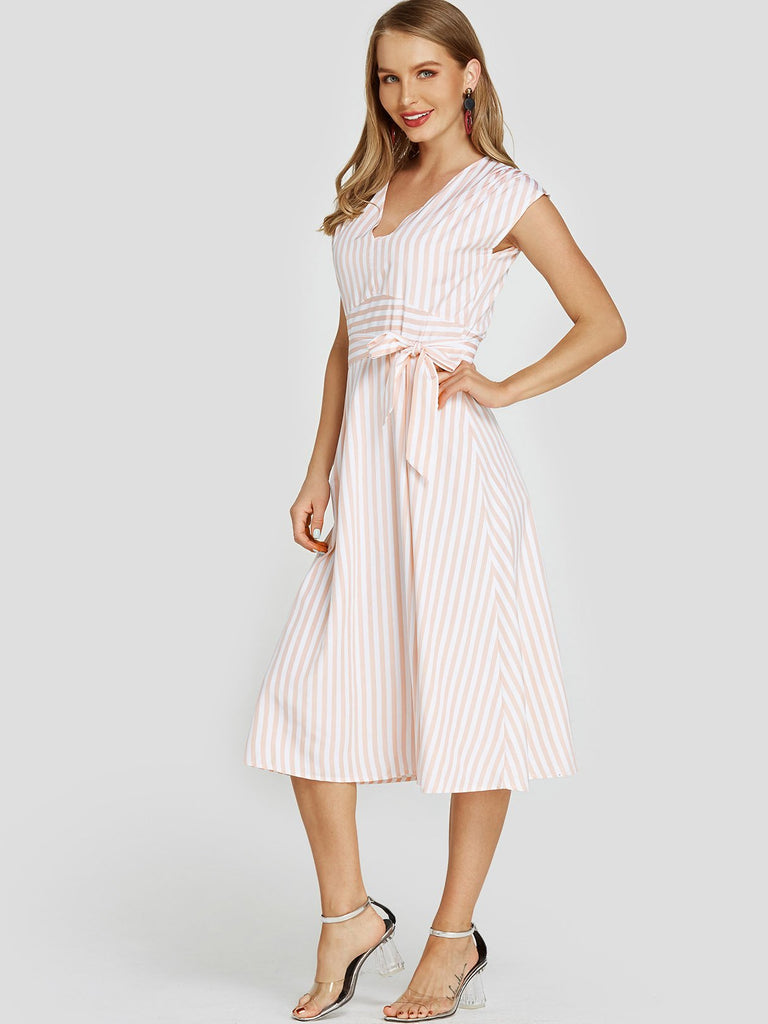 V-Neck Stripe Cut Out Self-Tie Sleeveless Pink Midi Dress