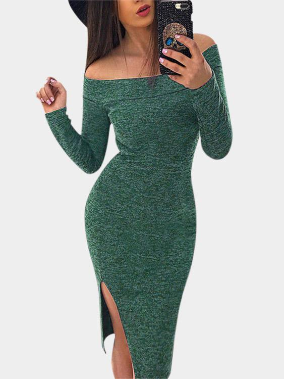 Off The Shoulder Plain Long Sleeve Slit Hem High-Waisted Green Dresses