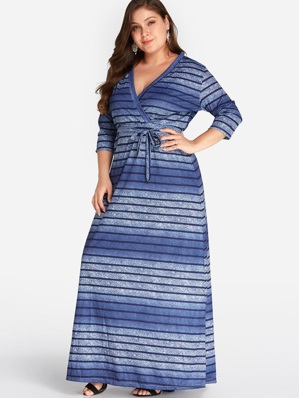 Womens Striped Plus Size Dress