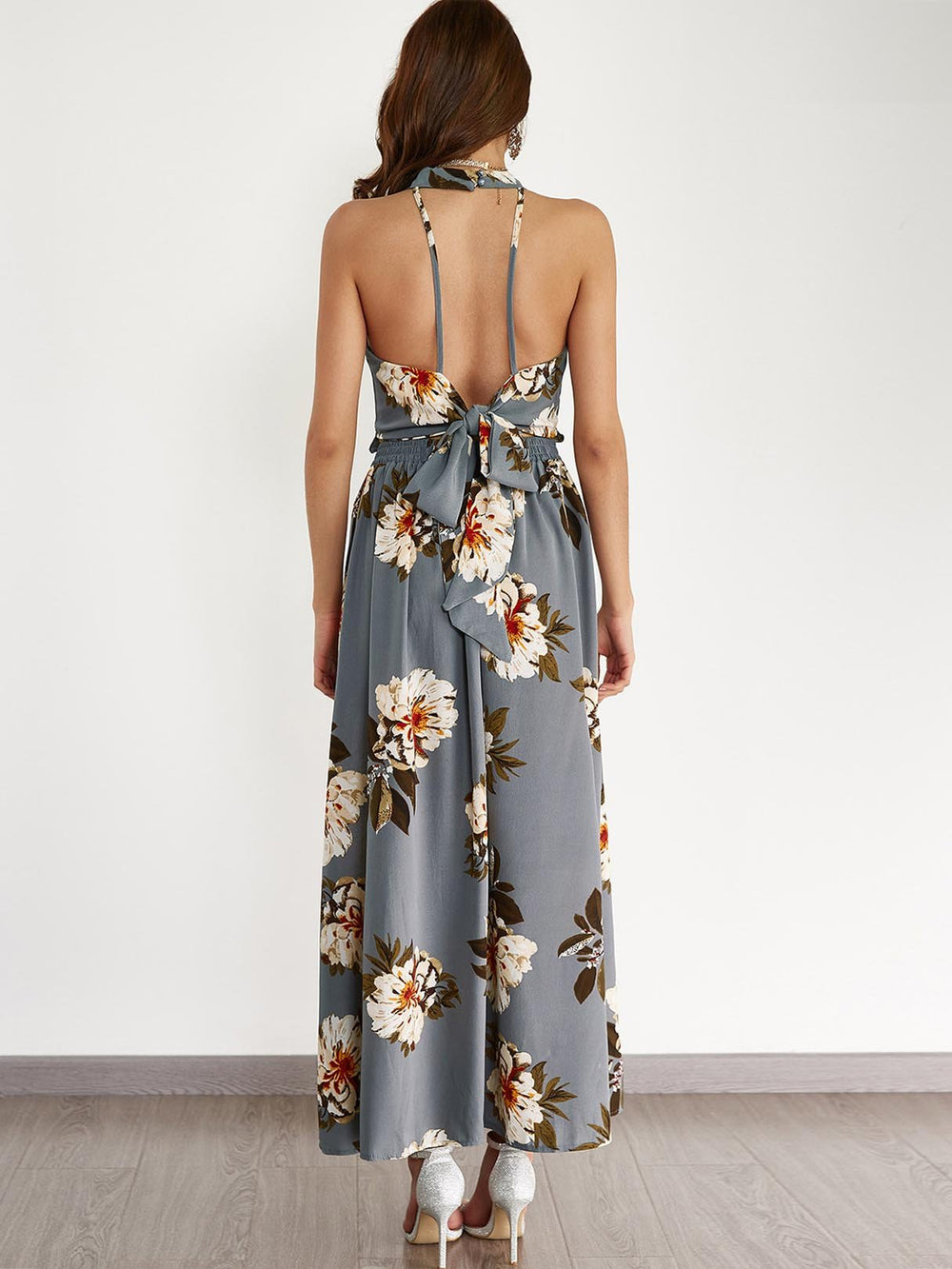 Womens Grey Floral Dresses