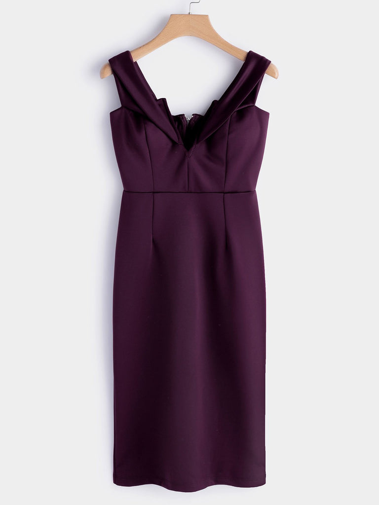 Burgundy V-Neck Off The Shoulder Short Sleeve Plain Zip Back Slit Sexy Dresses