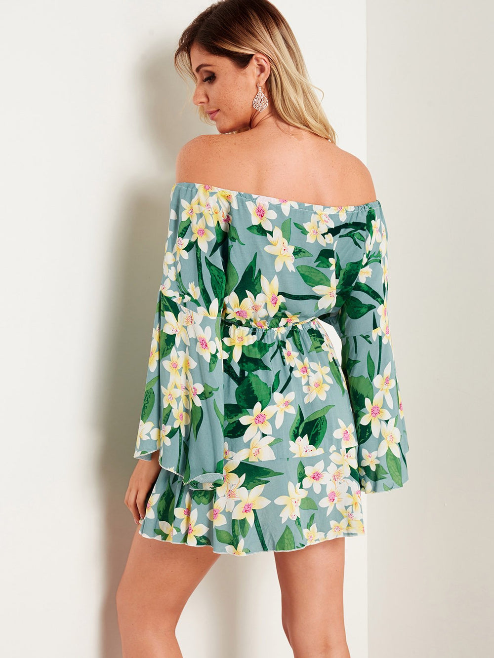 Womens Green Floral Dresses
