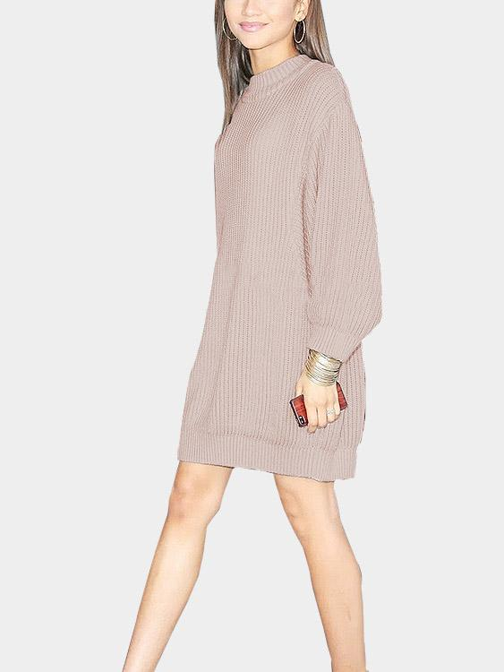 Pink Round Neck Long Sleeve Plain Sweaters