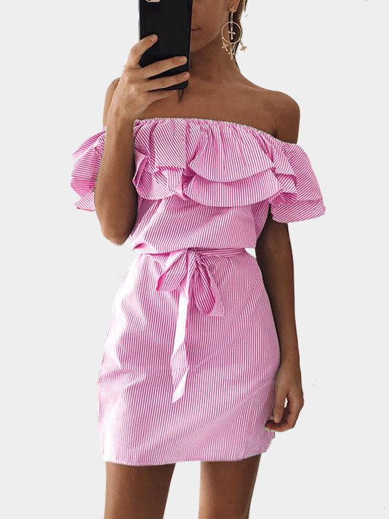 Womens Pink Off The Shoulder Dresses