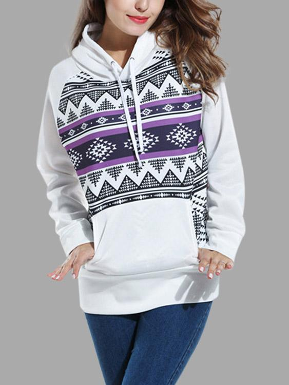 White Pullover Long Sleeve Geometrical Hooded Sweatshirts