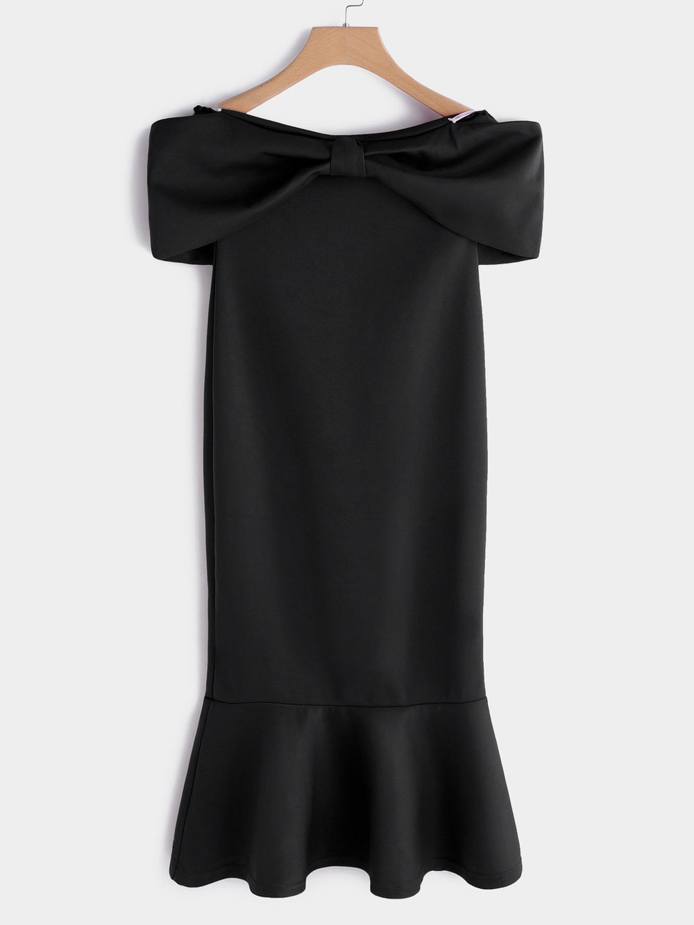 Off The Shoulder Plain Bowknot Short Sleeve Flounced Hem Black Dresses