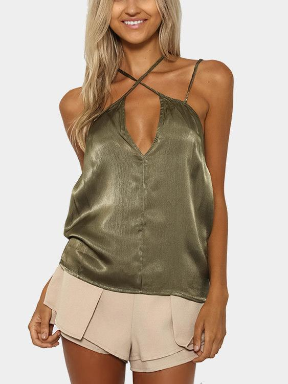 V-Neck Sleeveless Green Camis