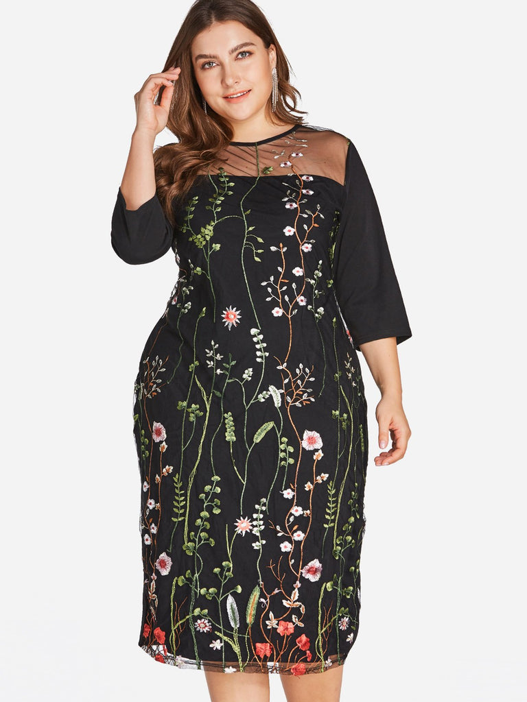 Ladies 3/4 Sleeve Plus Size Dress