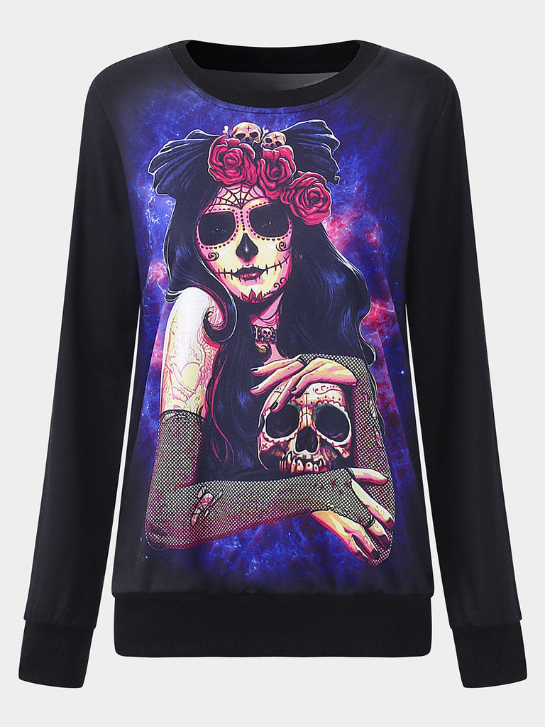 Black Round Neck Long Sleeve Printed Sweatshirts