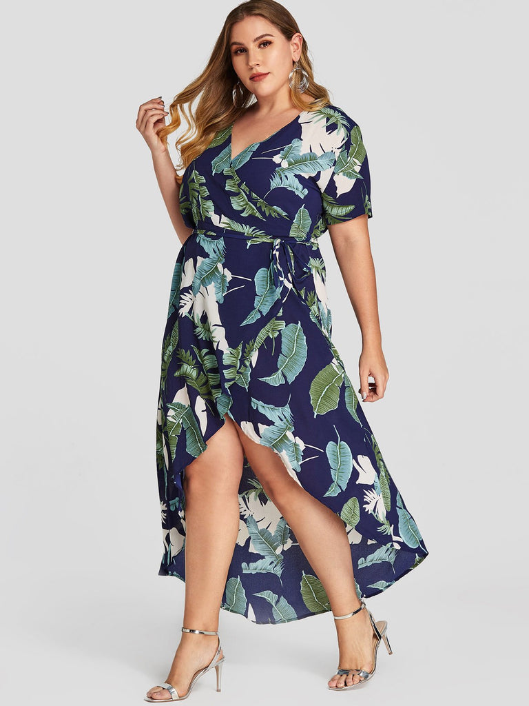 V-Neck Wrap Short Sleeve Asymmetrical Hem Navy Plus Size Dress