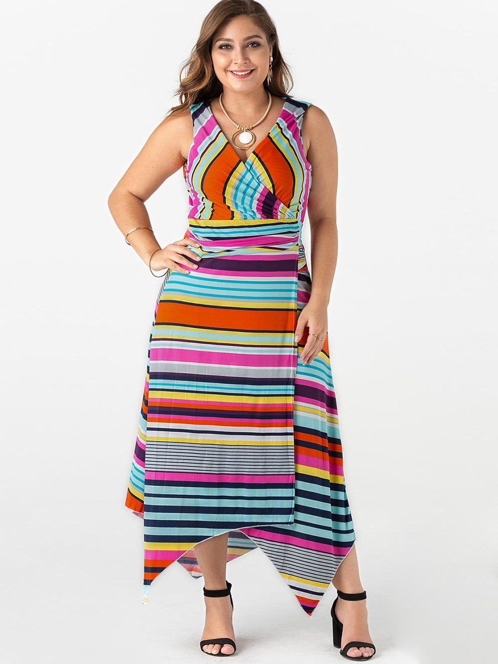 V-Neck Stripe Lace-Up Sleeveless Irregular Hem Plus Size Maxi Dress