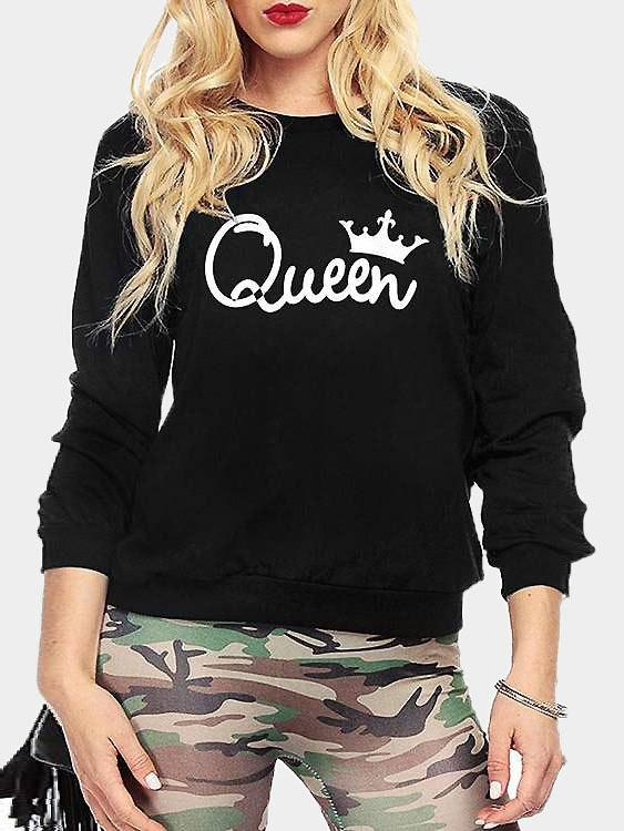 Black Round Neck Long Sleeve Letter Sweatshirts