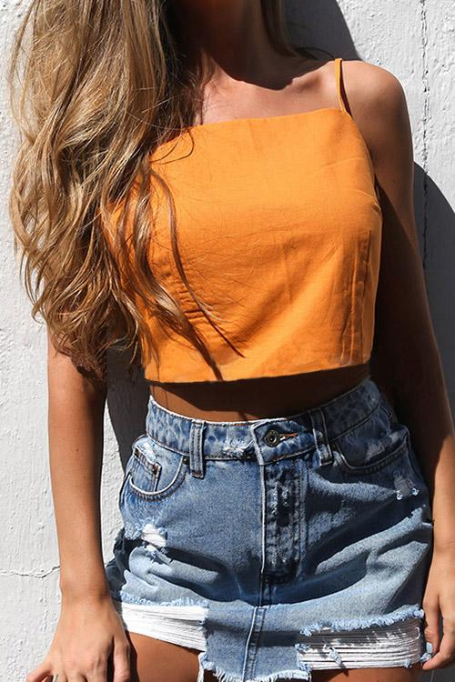 Square Neck Backless Sleeveless Crop Top