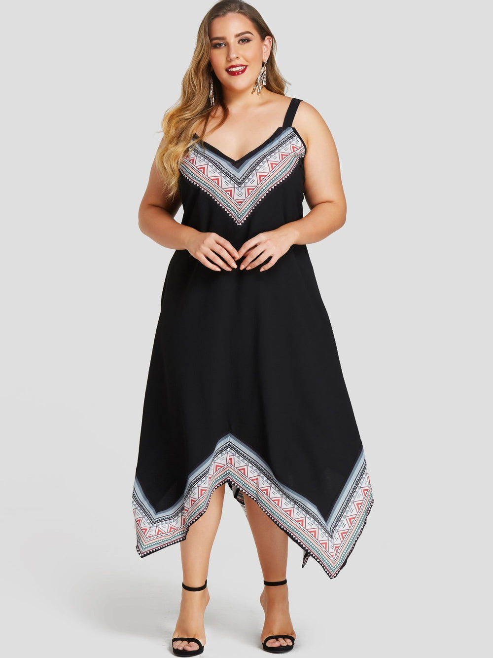 V-Neck Tribal Print Spaghetti Strap Irregular Hem Black Plus Size Dress