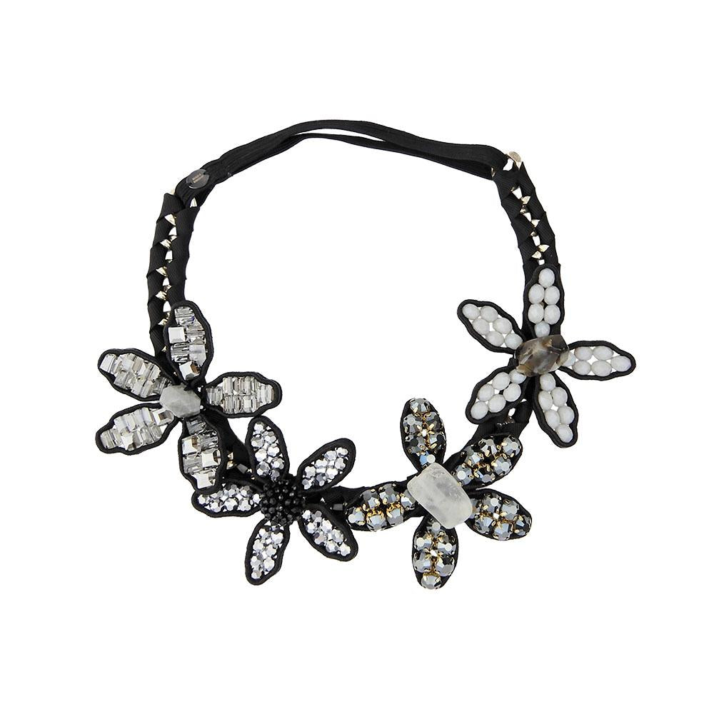 Beautiful Flower And Gem Stones Tiara Crown Headband