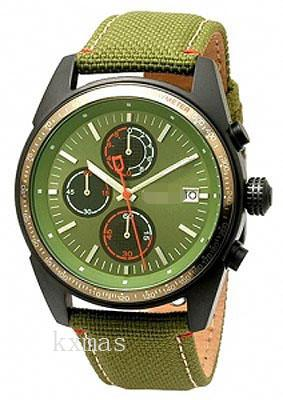 Discount Elegance Leather / Green Fabric Watch Wristband NY1398_K0037792