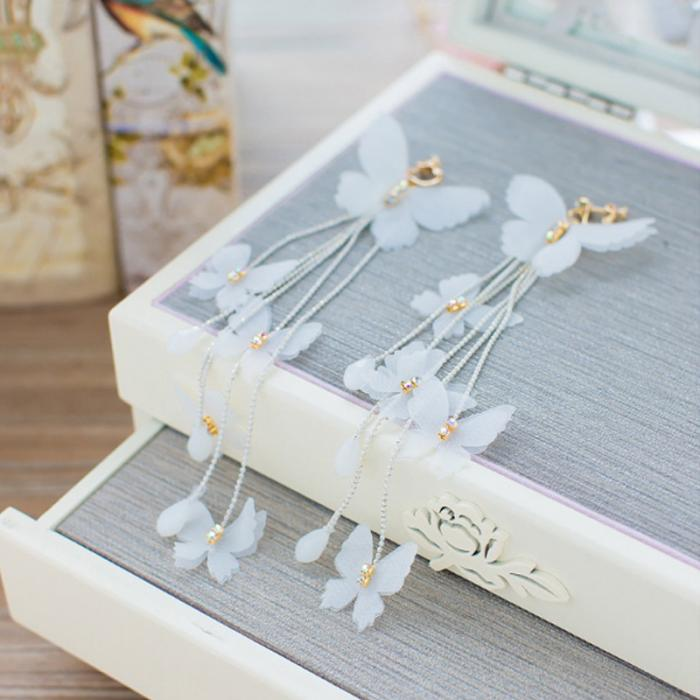 1 Pair Fashion Women Brides Flower Butterfly Long Tassel Wedding Dangle Earrings Jewelry Gifts