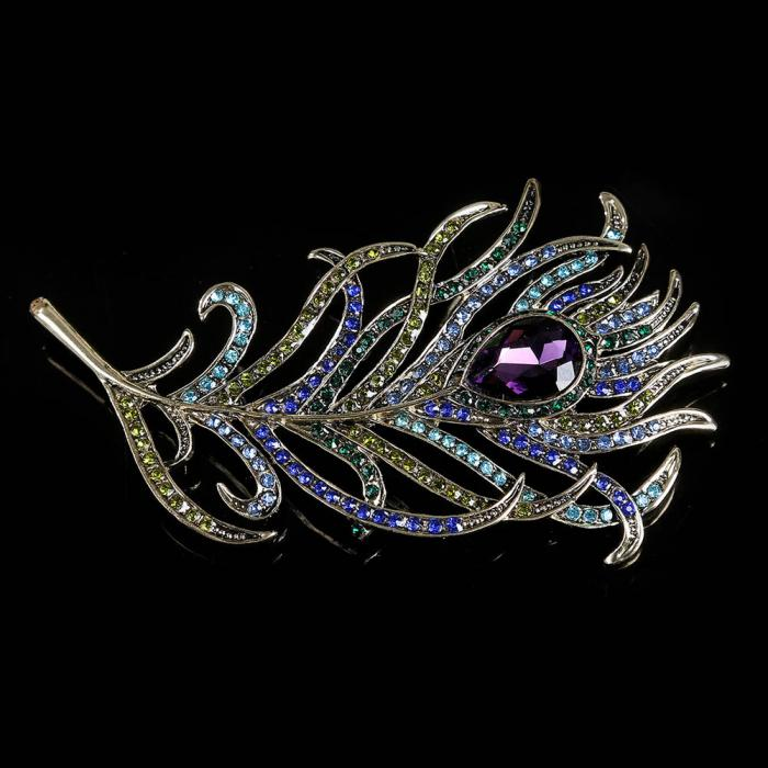 Fashion Vintage Women Romantic Feather Brooch Crystal Rhinestone Brooches Pin For Lady Dress Scarf Jewelry Accessories