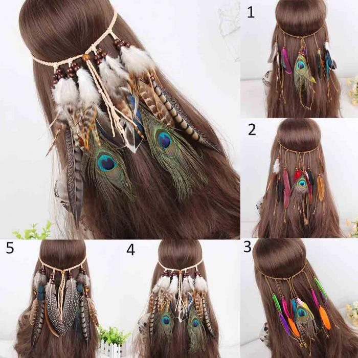 Indian Feather Headband Adjustable Headdress Festival Boho Hairband Women Girl Hair Accessories