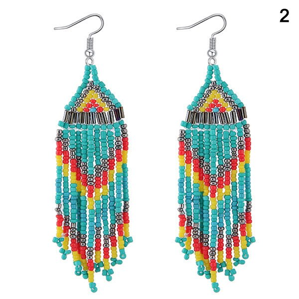 Beaded Oversized Handmade Bohemian Earrings Multicolored Drop Dangle Earrings