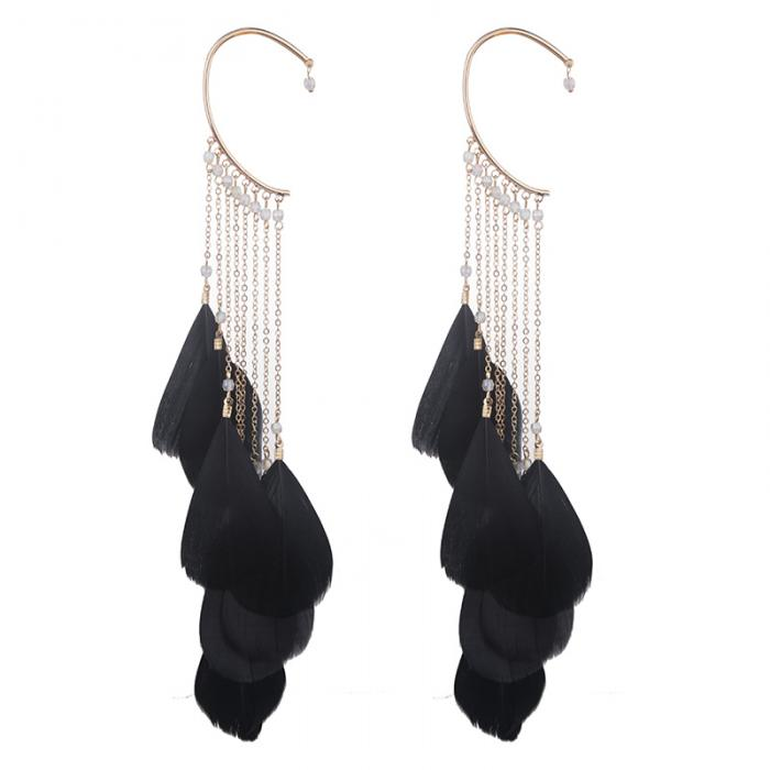 1 Pcs Women Lady Girl Earrings Ear Stud Drop Pendant Feather Tassel Gifts Jewelry