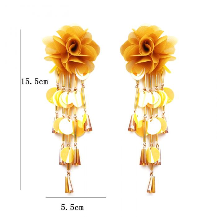 1 Pair Women Flower Earrings Tassels Sequins Ladies Girls Long Dangle Earring Jewelry Gifts