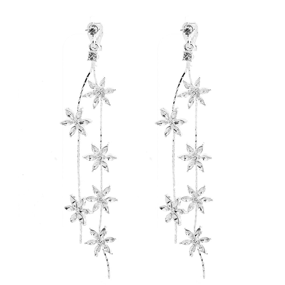Women Stud Earrings Clip Earrings Sweet Style Shining Zircon Flower Tassel Earring