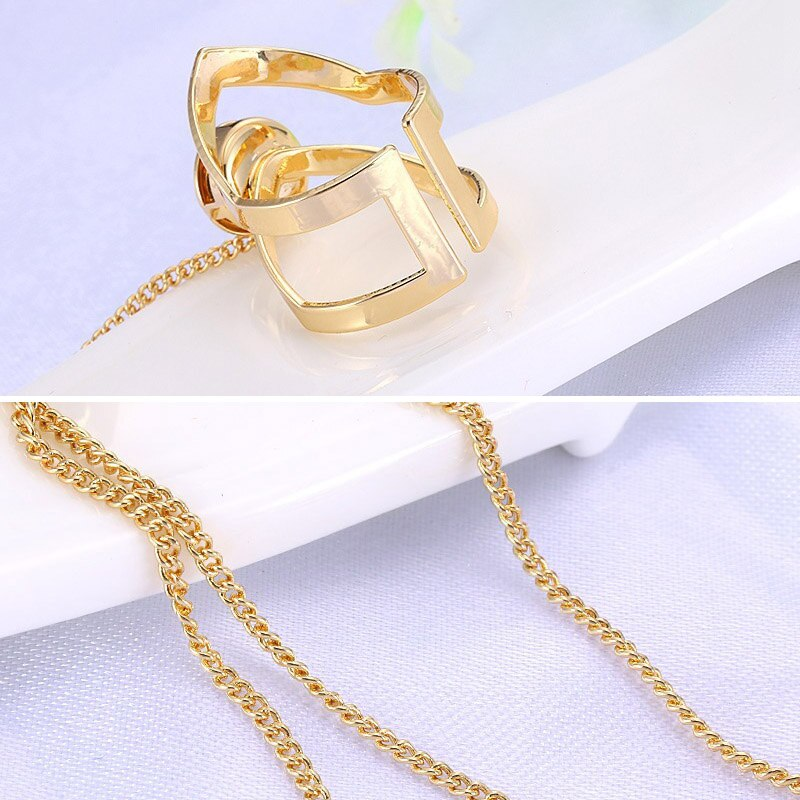 Women Ring Hand Chain Punk Style Jewelry Open Cuff Geometric Hollow Ring