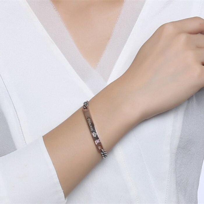 Couple Bracelet Titanium Steel Personality English Letter Bracelet Gift