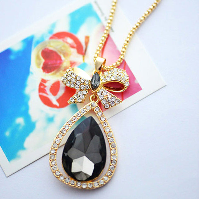 Women Long Necklace Waterdrop Pendant Retro Style Bow Long Chain Sweater Necklaces