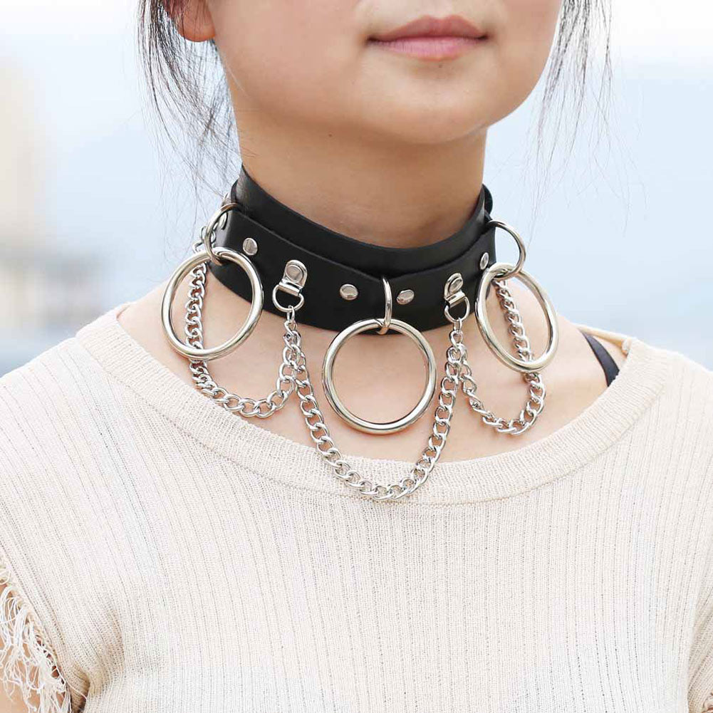 Women Sexy Collar Metal Circle Chain Choker Punk Style Binding Collar Necklace