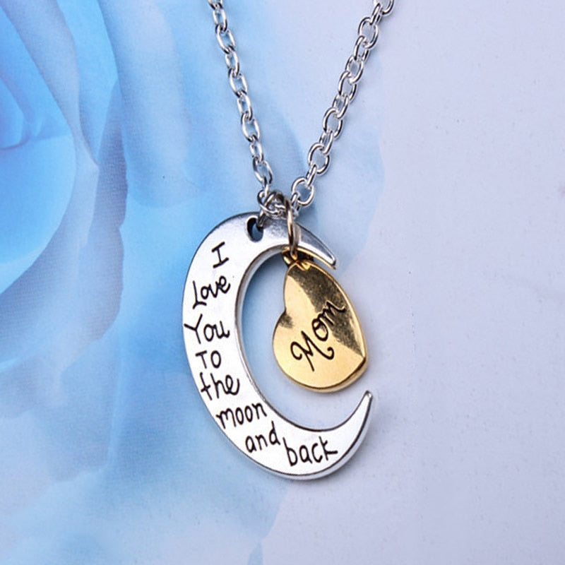 Men Women Alloy Necklace Moon Heart Shape Electroplate Metal Necklaces for Gifts