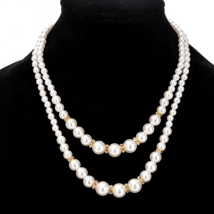 Women Retro Faux Pearl Necklace Lady Luxury Dual Layer Jewelry