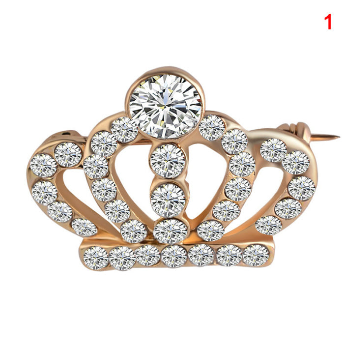 Crown Style Alloy Brooch Suit Shirt Button Collar Accessories Unisex