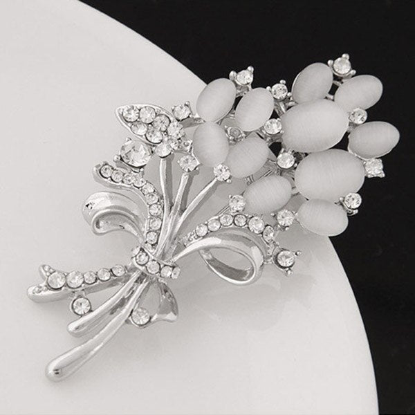 Fashion Women Brooch Flower Imitation Opal Stone Inlay Rhinestone Scarf Hat Brooch Pin Buckle Ladies Garment Accessories