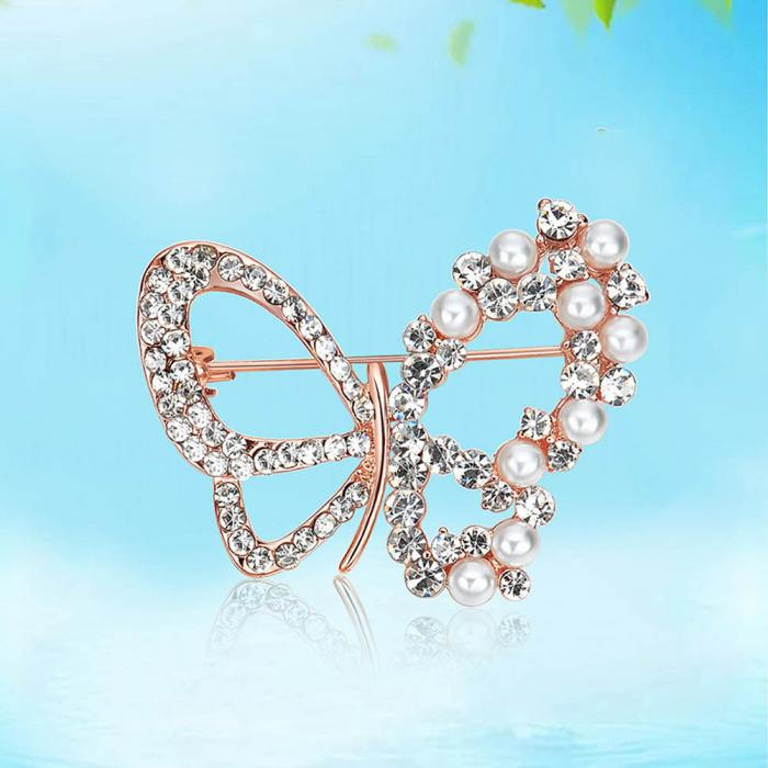 Women Brooch Pin Zircon Imitation Pearl Butterfly Lady Dress Sweater Scarf Brooches Jewelry Accessories Gift