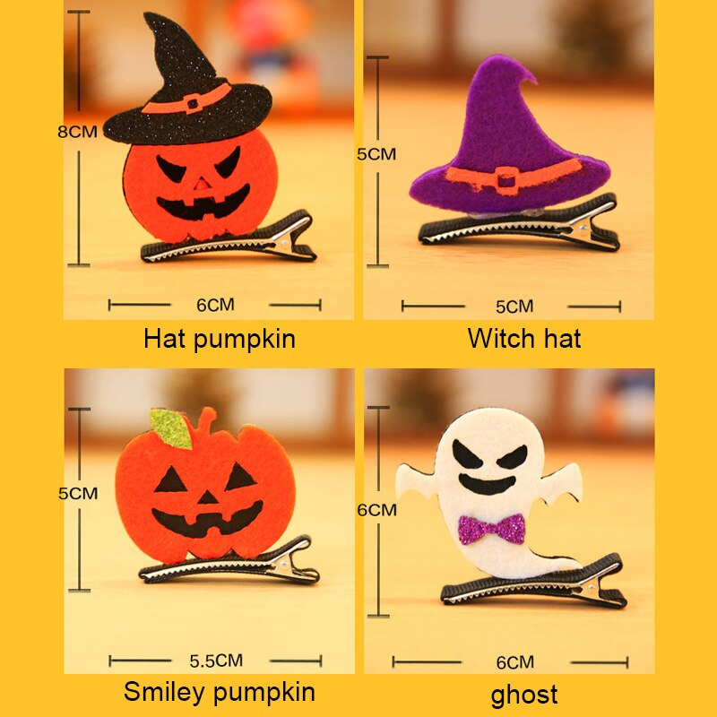 Halloween Girl Alligator Hair Clips Ghost/Witch Hat/Pumpkin/Cat Baby Hairpin Hair Accessories