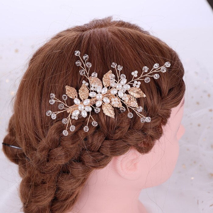 Bridal Hairpin Imitation Pearl Leaf Rhinestone Wedding Hair Accessories Ornaments