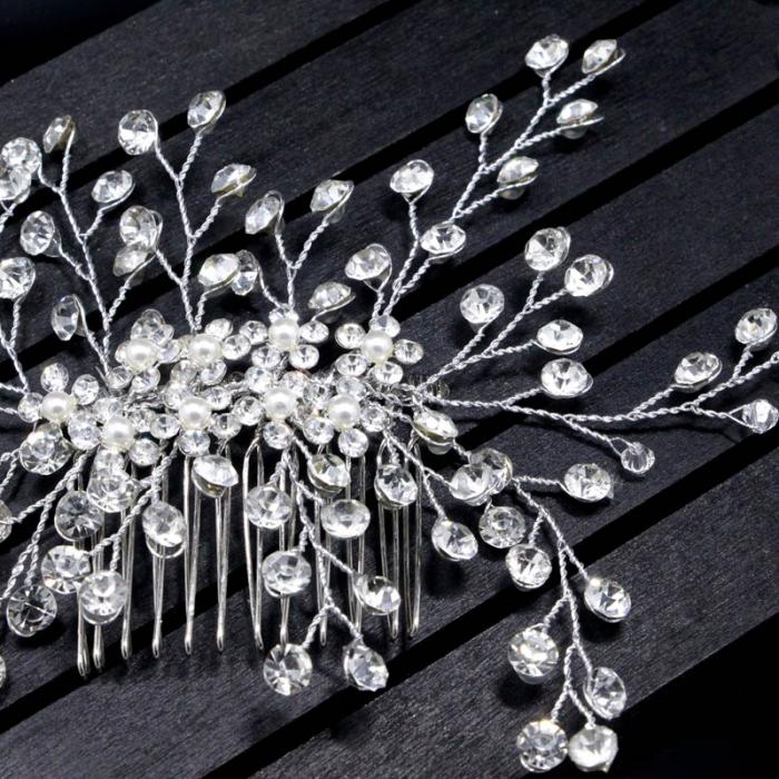 1 Pc Bride Hair Accessories Crystal Hair Comb Wedding Hair Jewelry Handmade Silver Hairpins