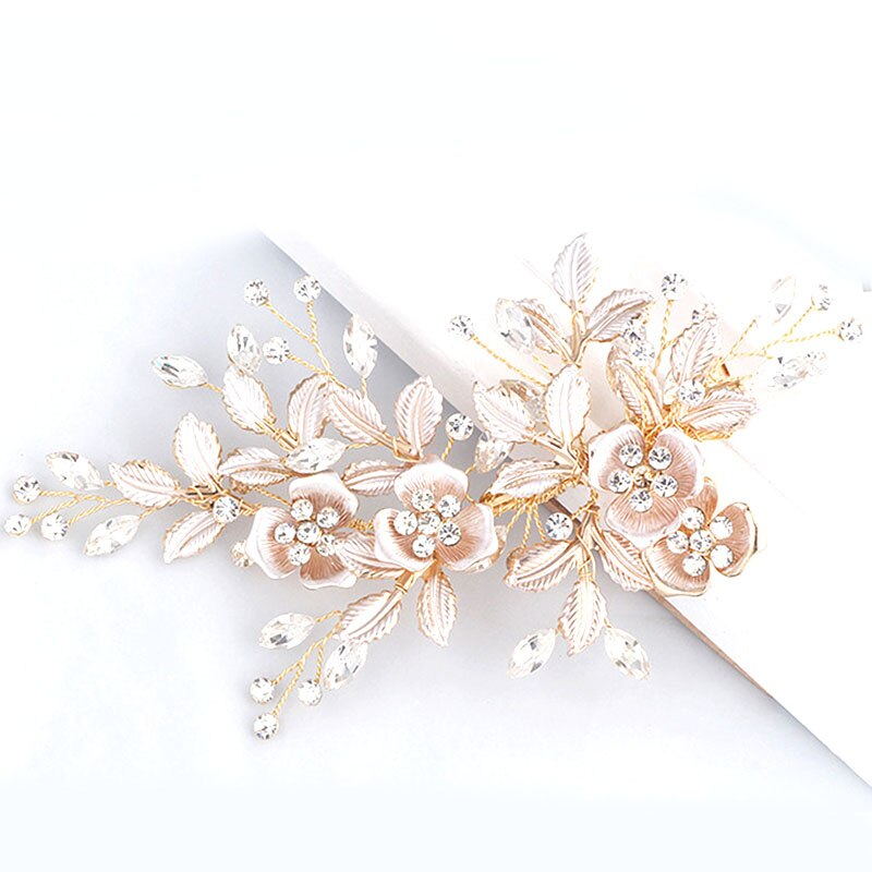 Bride Hair Accessories Comb Ornaments Flower Leaves Handmade Wedding Headdress