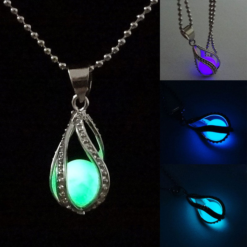 Newly Fashion Teardrop Necklace Glow in the Dark Pendant the Little Mermaid Romantic