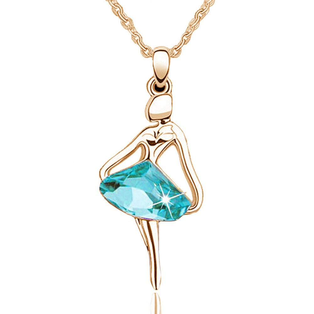 Elegant Women Jewelry Gold/Silver Plating Skirt Dream Ballet Dancing Girl Angel Crystal Necklaces
