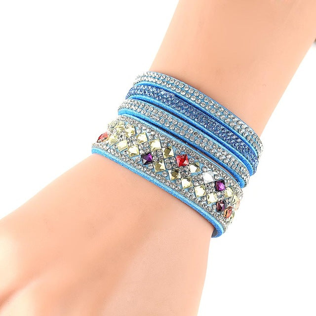Women Multilayer Bracelet Velvet Crystal Hand Chain Lady Casual Wrap Bracelets Jewelry Accessories