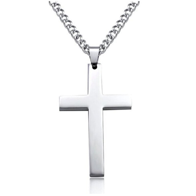 Men Inverted Cross Pendant Necklace Stainless Steel Chain Link Necklaces Jewelry